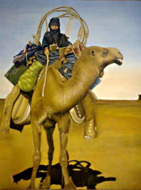 One of my paints: An old Arabian women on a camel in the desert of north west Iraq. oil on canvas, 2m x 2.5m