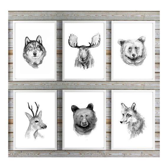Wolf beer eland vos hert schilderij - dier portretten -  6 wilde dieren prints -  eland aquarel - wolf schilderij - vos kunst - hert poster