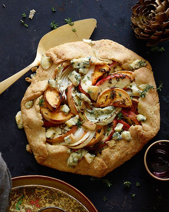 Butternut Squash, Apple, and Onion Galette with Stilton/ blue cheese - Savory and beautiful pie.  Yes! You leave the skin on the butternut squash and it bakes tender. Easier to prepare too.