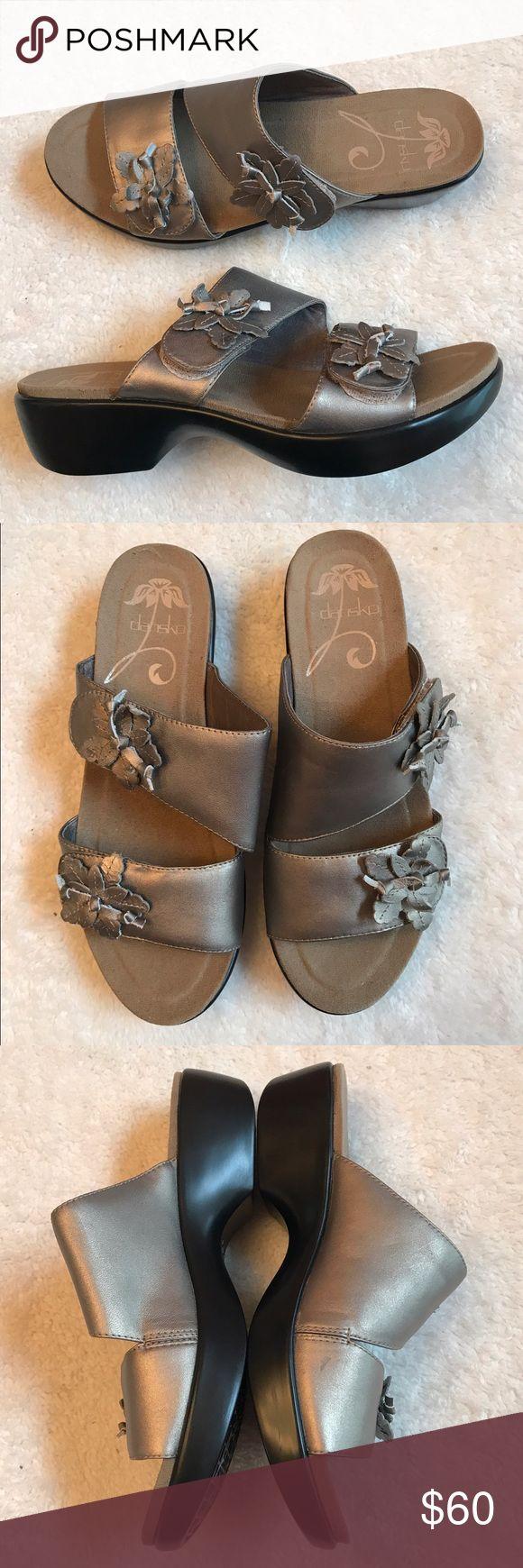 Dansko pewter sandals Like new condition. Velcro adjustable straps. Size 37 Dansko Shoes Sandals