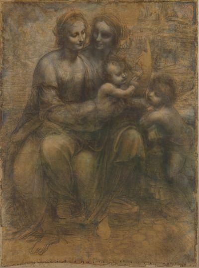 Leonardo da Vinci, Cartone di Maria, Sant'Anna, Gesù e San Giovannino, 1501- 1505, disegno a carboncino, matita nera, biacca e sfumino su carta, per la Santissima Annunziata di Firenze, ora National Gallery (Londra)