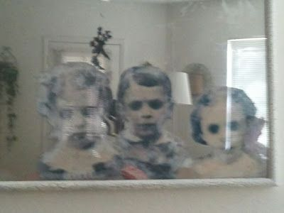 Haunted Mirror Tute - I need to look up the process that transfers toner prints to wood or canvas.  I think that if the kids were semi-transparent with mirrored background it would be ever eerier!