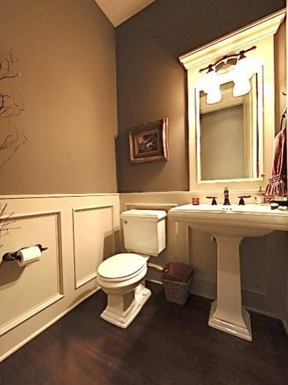 Wall color wainscoat is perfect i am so over pedistal - Powder room sink ideas ...