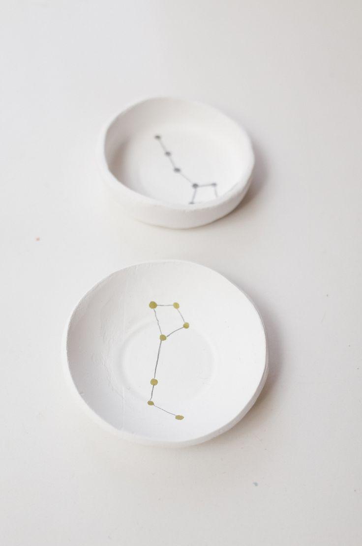 DIY Constellation Air Dry Clay Bowls Tutorial