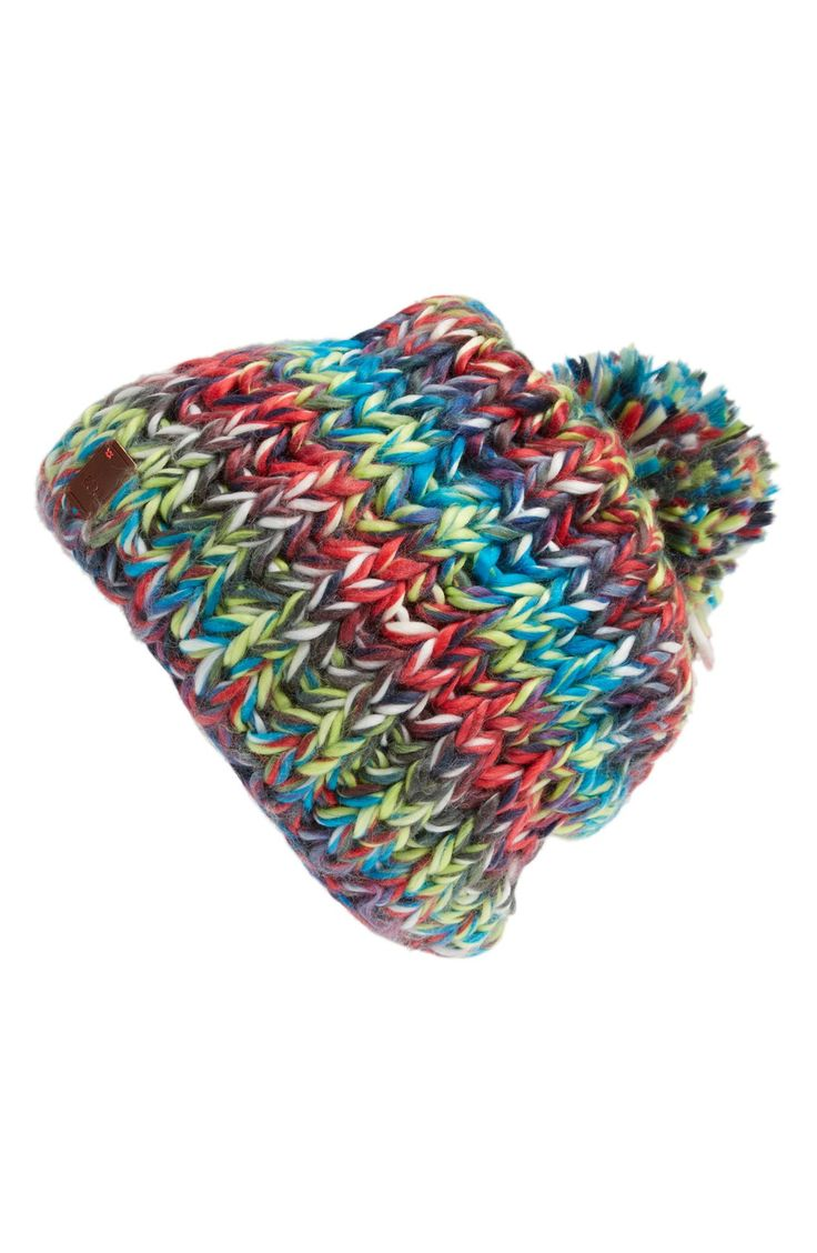 This colorful knit beanie is the perfect addition to any winter wardrobe.