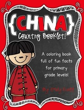 """This """"All About China"""" booklet can be used for a very basic country study in lower elementary grades!  Just print out the pages, have kids cut along the center dotted line, stack the small pages on top of each other and staple together! All clip-art is in an outline format so that it's ready to be colored like a mini-coloring book."""