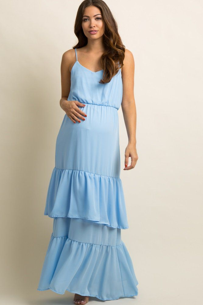 2af635a8d79 Light Blue · A solid hued maternity maxi dress featuring a chiffon  material