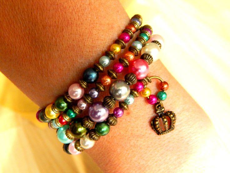 """Bracelet ethnique """"Sandra"""" fil memoire 4 rangs des perles nacré multicolore : Bracelet par caromoon"""