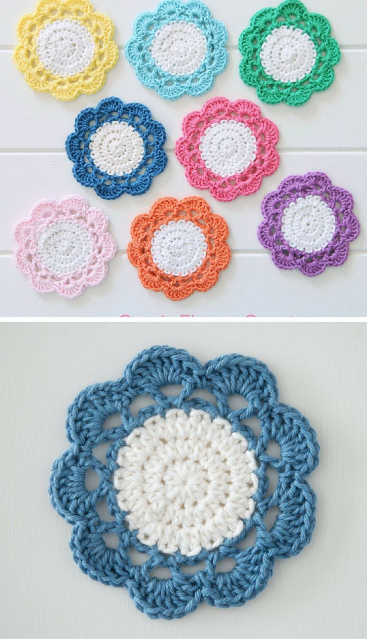 {Crochet} Candy Flower Coaster Pattern