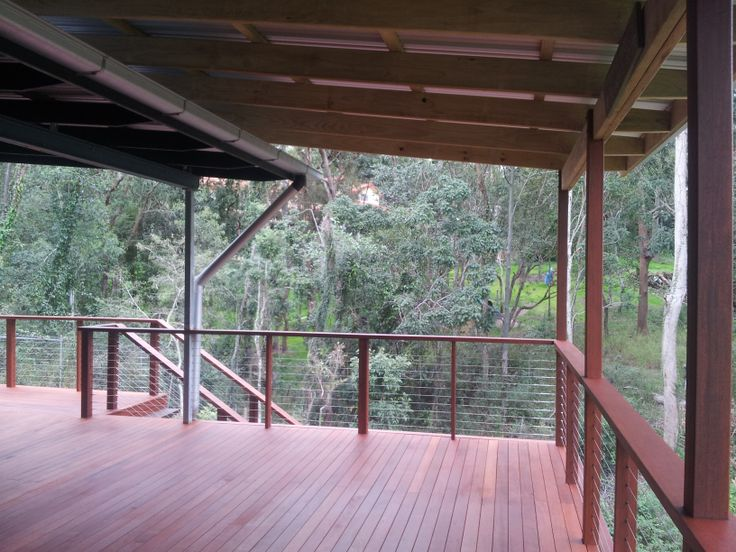 Timber Deck, Kwila Decking, Corrugated Roof, Kwia Handrail and Stainless Steel Balustrade