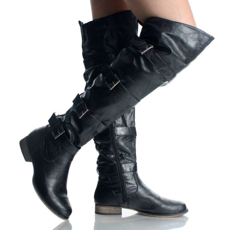 Thigh High Biker Boots - Yu Boots