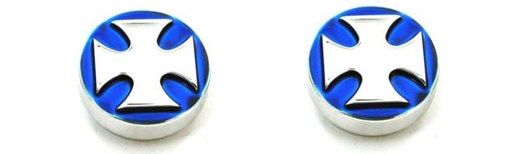All Sales Interior Dash Knobs (set of 2)- Iron Cross Blue