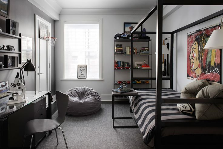 A natural steel Architecture bed from Room & Board creates an industrial look in this teenager's bedroom.  Chicago co-op designed by @Designer Eva Quateman