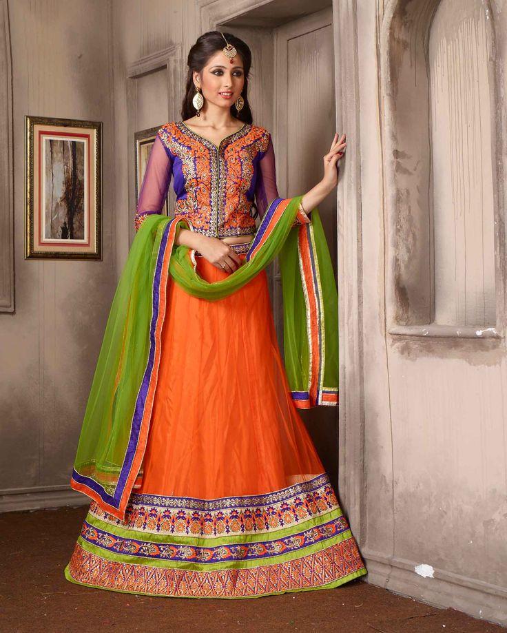 Orange   enchanting Embroidered Net Buy Lehenga Choli Online       Fabric:   Net       Work:   Embroidered       Type:   Buy Lehenga Choli   Online       Color:   Orange                 Lehanga   Fabric   Net       Choli Fabric   Si