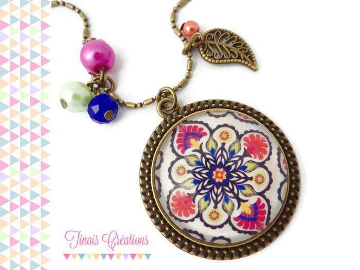 Collier sautoir cabochon - Oriental - rose fuchsia bleu vert orange breloque feuille perles florale verre bronze : Collier par tinais-creations