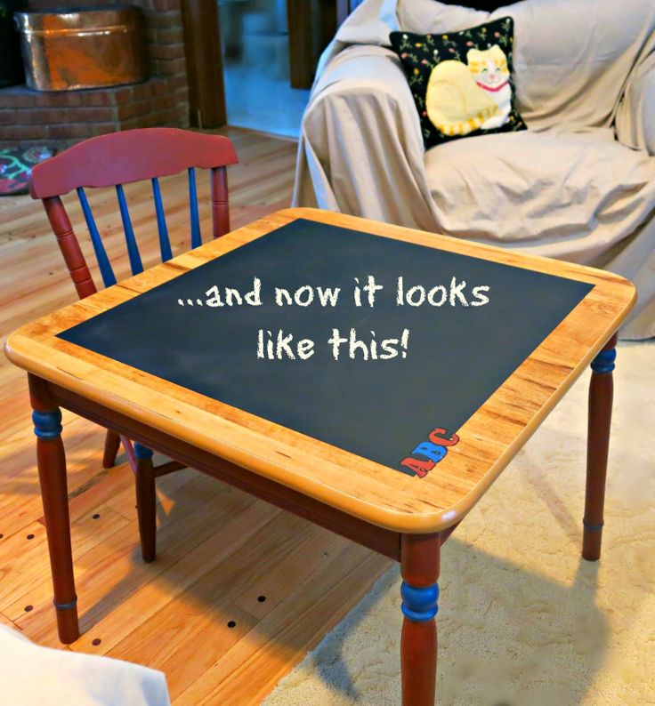 Granny Fabulosa: Make over a child's table and chair set with chalk paint and chalkboard paint.  (No, they're not the same thing!)  :)