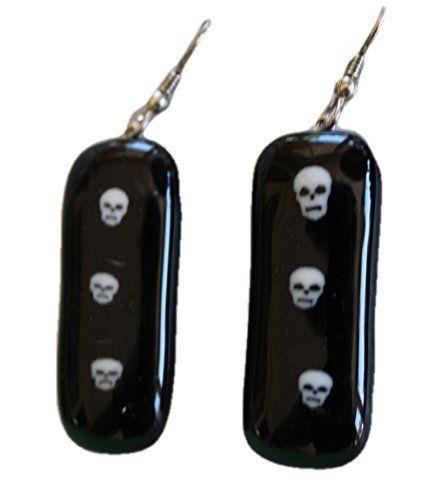 Jewels of Fire Triplet Skull Glass Drop Earrings for Halloween