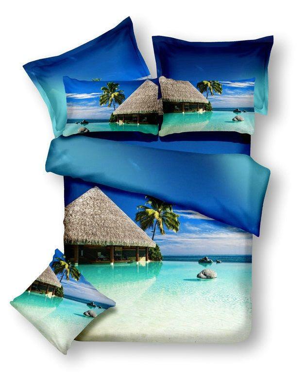 Modré posteľné obliečky s motívom exotickej pláže