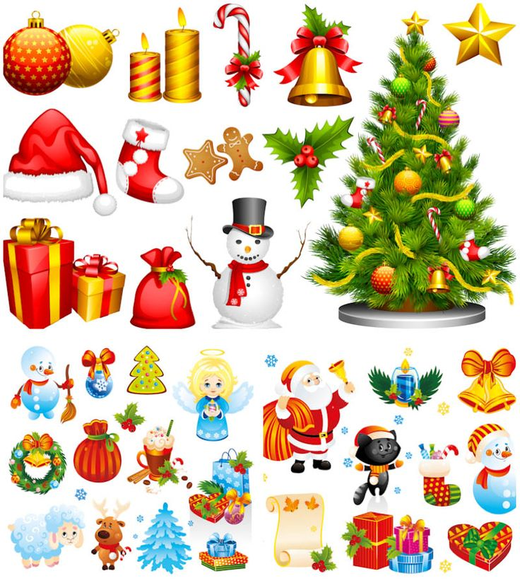 3 Sets of colorful vector cartoon Christmas illustrations of snowman, Santa Claus, Christmas tree, gifts, stockings, Santa's bag, Santa's hat, candles, bells, cookies, angels, wreaths, toys and Christmas tree decorations, cats and reindeer for your web designs, banner templates, Christmas…