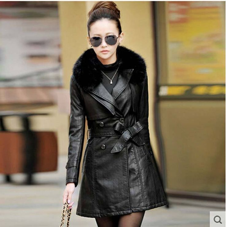 Genuine Leather Fur Collar Jacket
