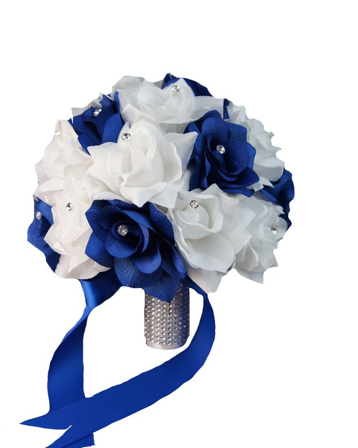 """10"""" Bridal Bouquet: Horizon Royal blue and white artificial roses,rhinestone accents"""