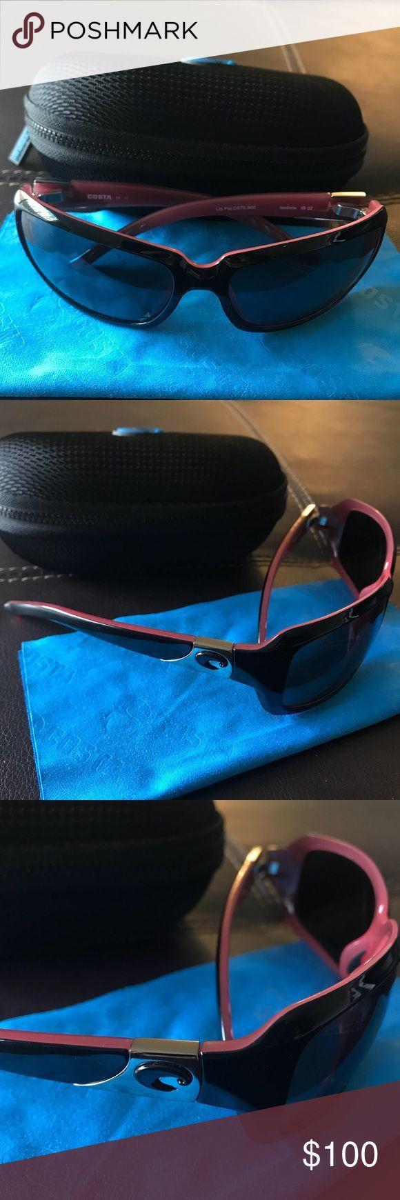 Costa Del Mar Sunglasses Isabella 580P Black/Coral Frame Grey Lenses Costa Del Mar Accessories Sunglasses