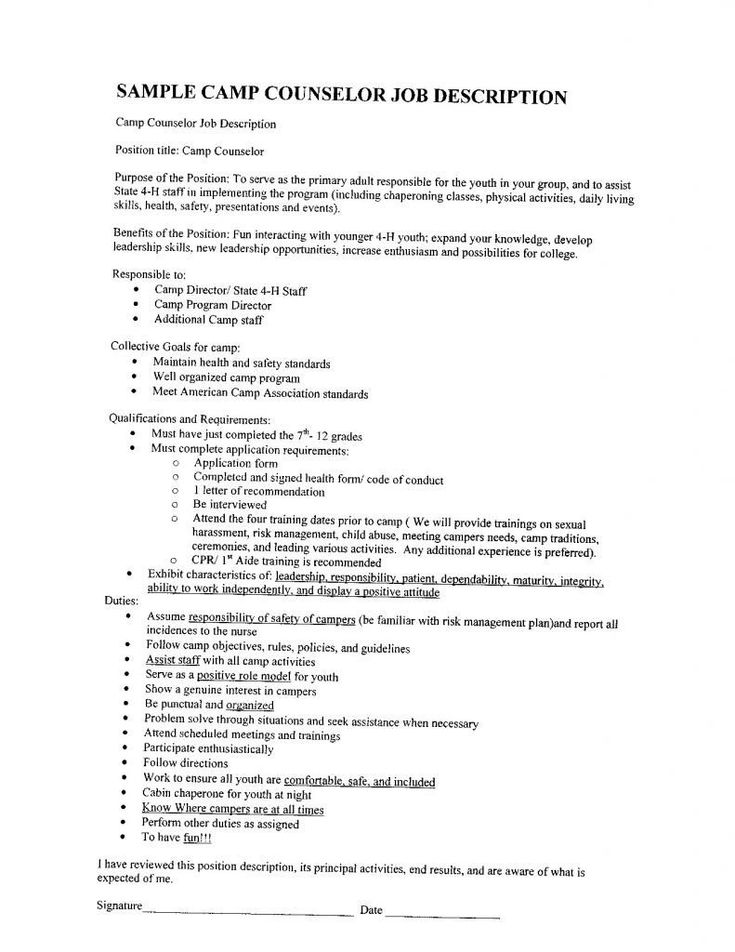 32 elegant camp counselor job description for resume in