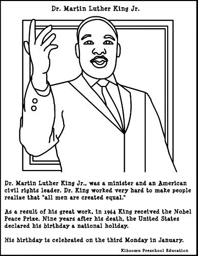 martin luther king, coloring sheets - Google Search
