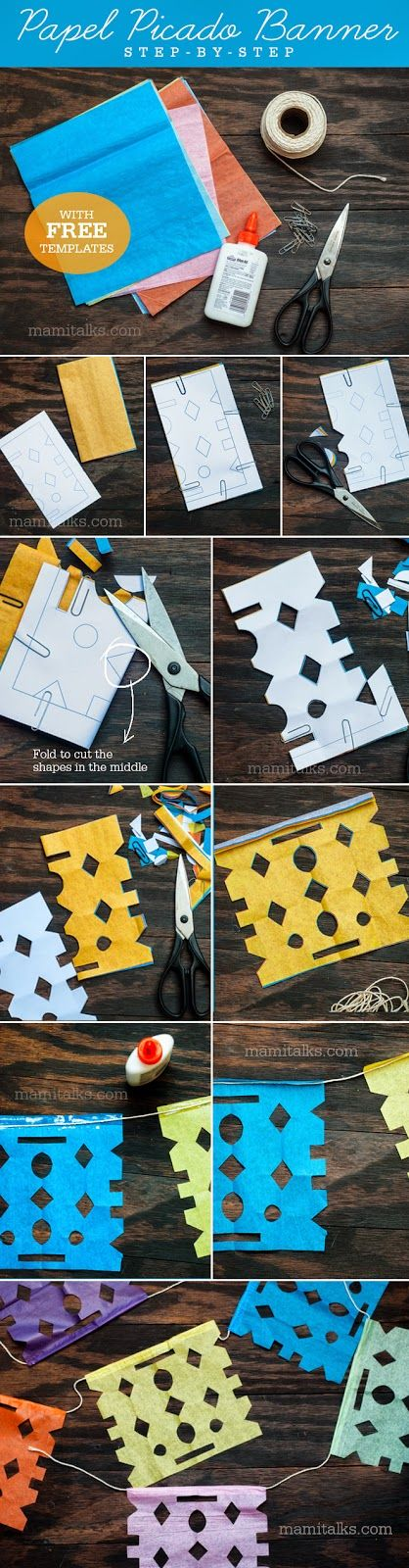 How to make Papel Picado Banners with 3 different FREE templates to download.