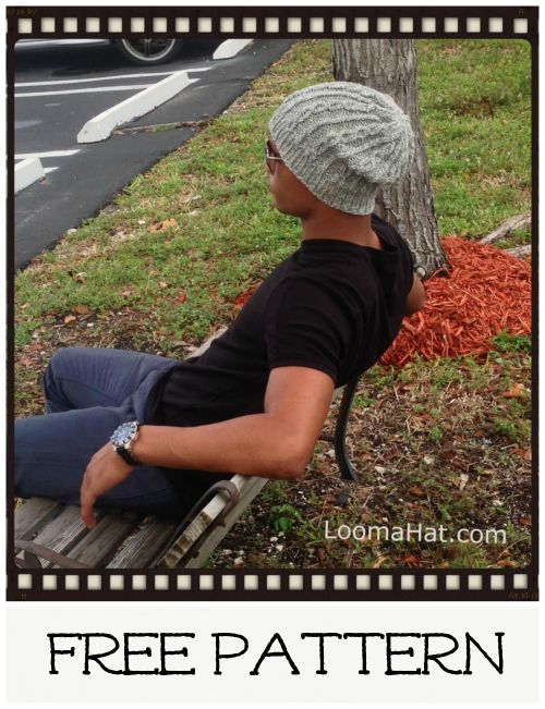 Slouchy Hat Pattern for Men Easy to do 2 Stitch Cables make this hat cool and classy. http://www.loomahat.com/slouchy-hat-pattern/