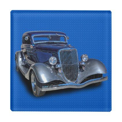1934 VINTAGE CAR GLASS COASTER - home gifts ideas decor special unique custom individual customized individualized