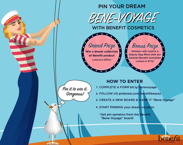Pin your dream Bene-voyage for a chance to WIN Benefit goodies! ENTER here: http://sweeps.piqora.com/benevoyage