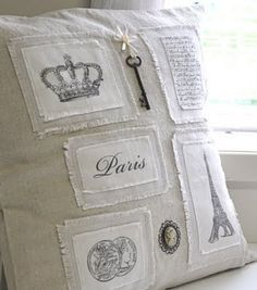 pillow with transfer appliques