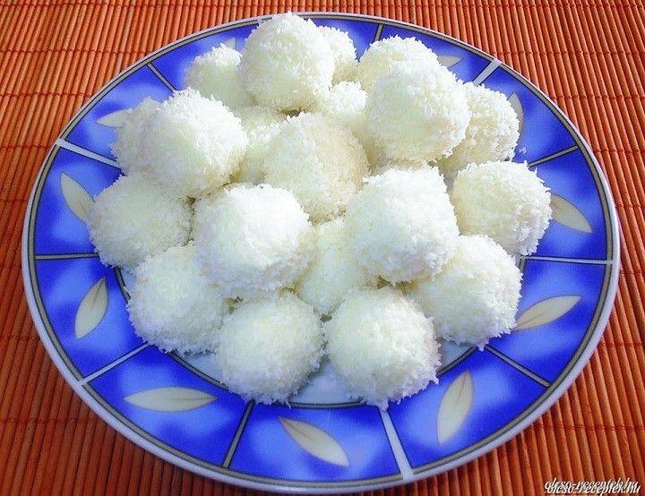 Raffaello golyók tejpor nélkül recept - Hozzávalók:  10 dkg búzadara 10 dkg kókuszreszelék + a forgatáshoz 2 dl tejszín 6 dl tej kb 1 ek vaj 15 dkg cukor 1 cs vaníliás cukor kb 30 – 40 szem mandula