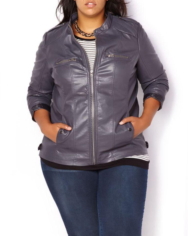 Faux-Leather Jacket in charcoal Grey  #penningtons #plussizefashion