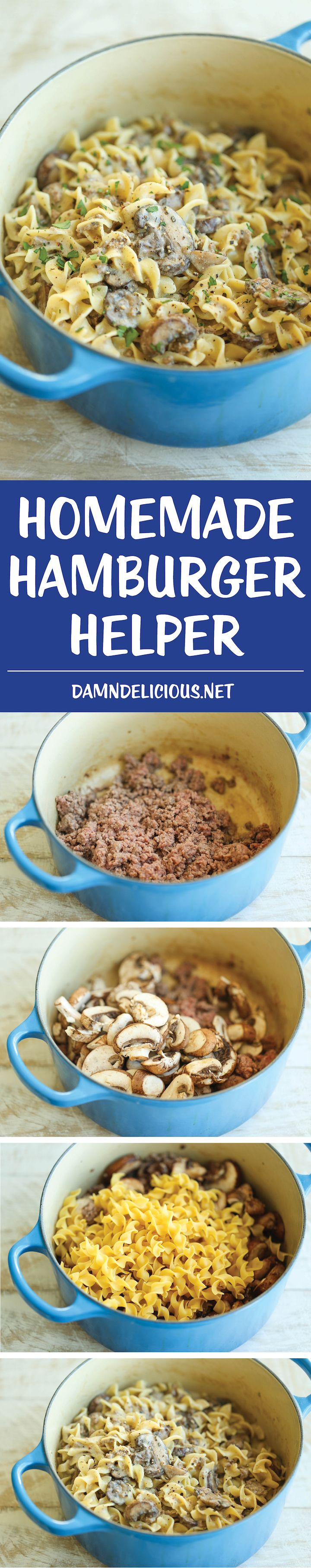 Homemade Hamburger Helper - Beef stroganoff made completely from scratch in ONE POT in less than 30 min. And it tastes 10000x better than the boxed stuff!/Best Hamburger Helper I have had. Fast and tasty. Followed the recipe and I will make again.