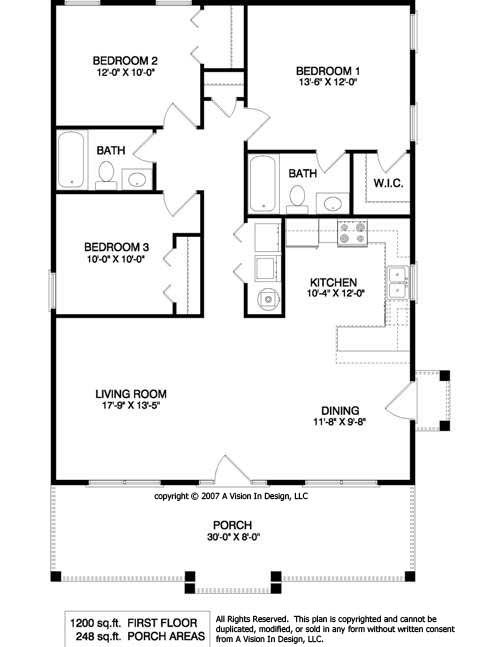 1200 sq ft 1950s 3 bedroom ranch floor plans - Small 3 Bedroom House Plans 2