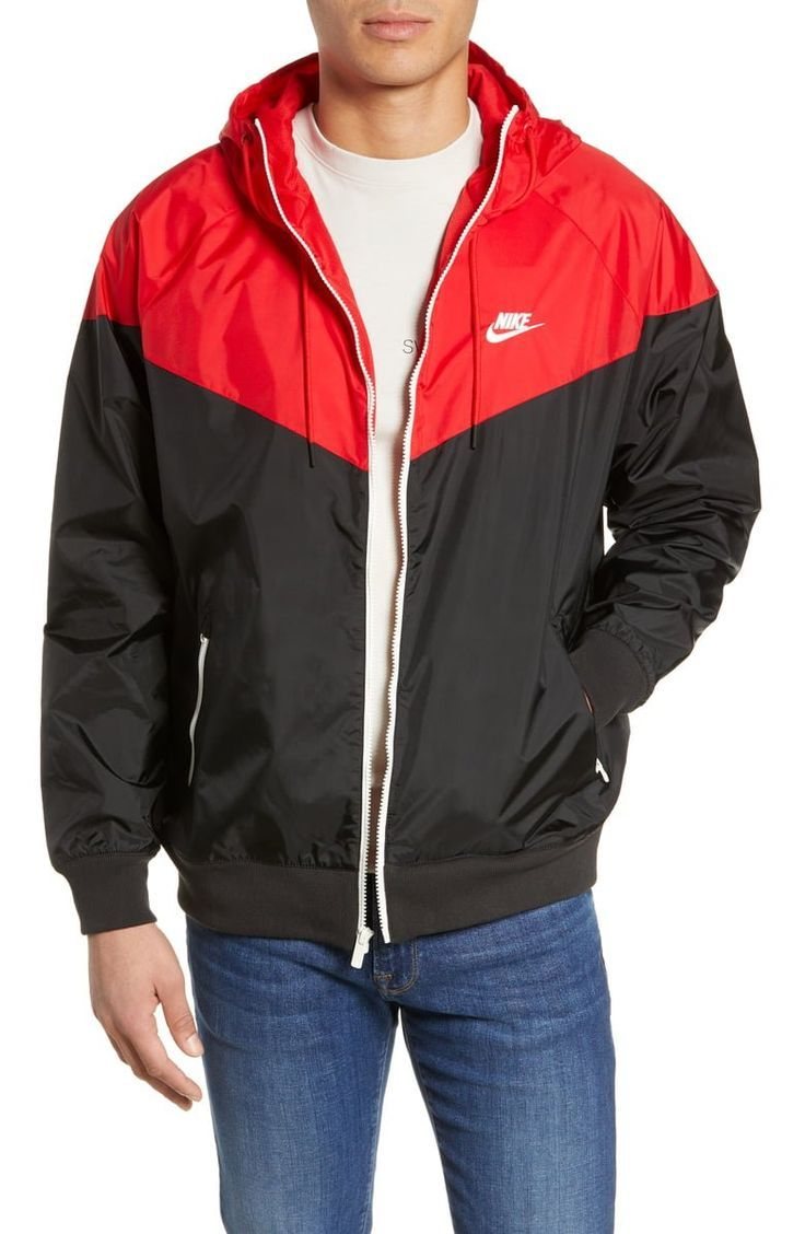 Café borroso negro  Black and red Nike Jacket   Windrunner jacket, Nike clothes mens, Nike  sportswear