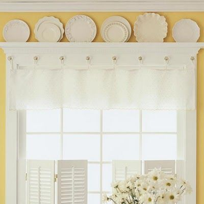 scratch the yella walls... but mmmmmm white curtains with porcelain accents :) Yellow Walls, White Woodwork, Glass Knob Curtain Hangers, Kitchen.