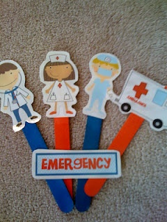 Free doctor-nurse-ambulance printable figures, good for stick puppets.  From Preschool Printables.