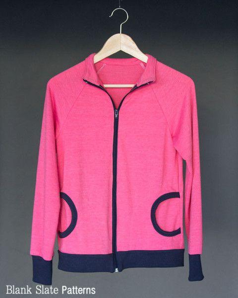 Zinnia Jacket zippered sweatshirt sewing pattern by Blank Slate Patterns
