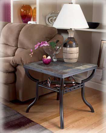 BLACK FRIDAY DEALS Ashley Contemporary Natural Slate Square End Table Living Room