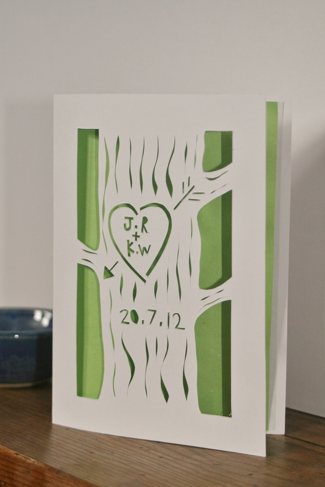 Deep in a wood, carved on a tree - customised wedding congratulations card £6.50