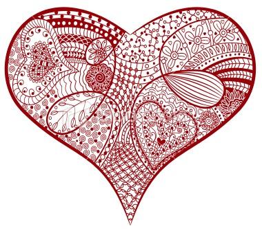 Red zentangle heart