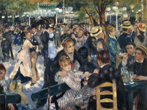 Obra de Auguste Renoir, uso de cores complementares, passa a impressão de que estão em baixo da sombra de uma árvore.