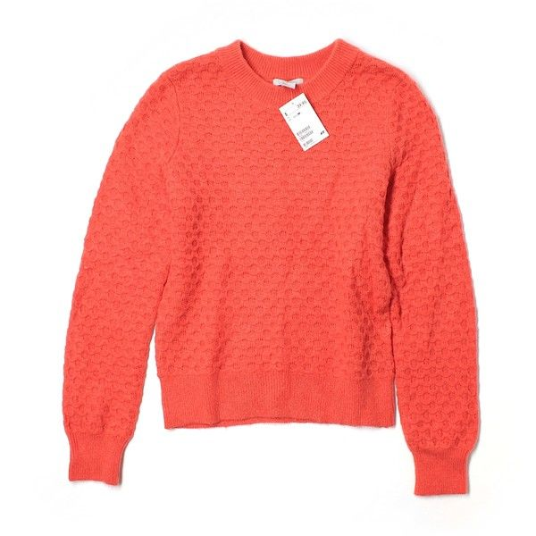 Pre-owned H&M Pullover Sweater Size 8: Orange Women's Tops (£13) ❤ liked on Polyvore featuring tops, sweaters, orange, orange top, pullover sweaters, orange sweater, red sweater and red top