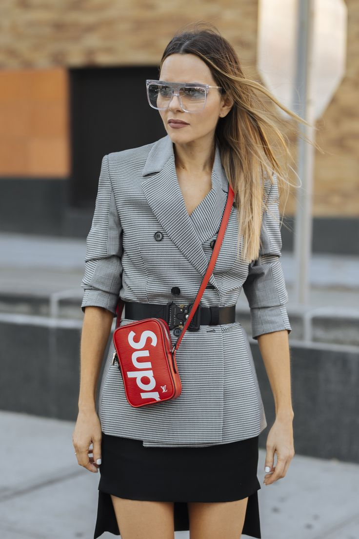 Maria Hatzistefanis - Mrs Rodial - NYFW - Louis Vuitton X Supreme Bag - Street Style - Checked blazer