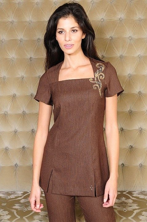 Ava beauty tunic in brown linen with square neckline and gold sequin embellishment.