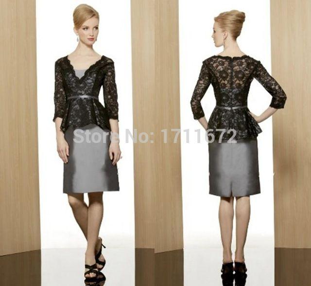 新しい ショート vestidos noiva パンツ スーツ黒サテン レース プラス サイズ母の花嫁ドレス名付け親付き ジャケット スリーブ