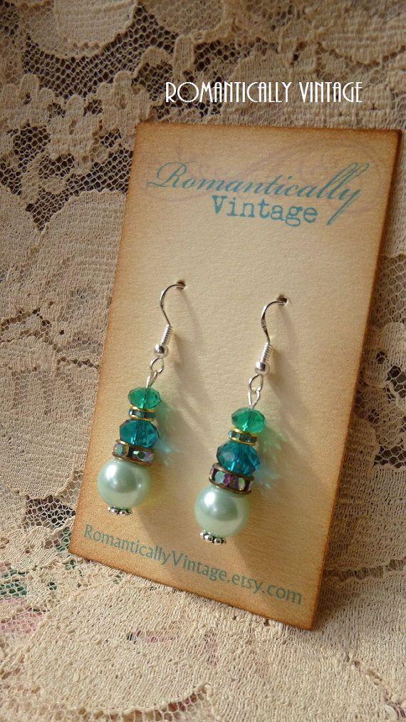 Gypsy Boho Green Beaded Earrings Rhinestones